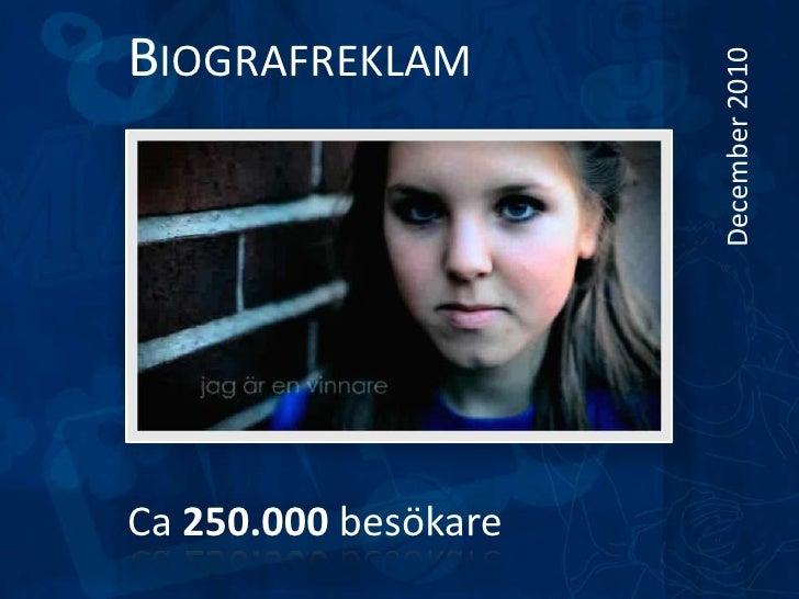 Biografreklam<br />December 2010 <br />Ca 250.000 besökare<br />