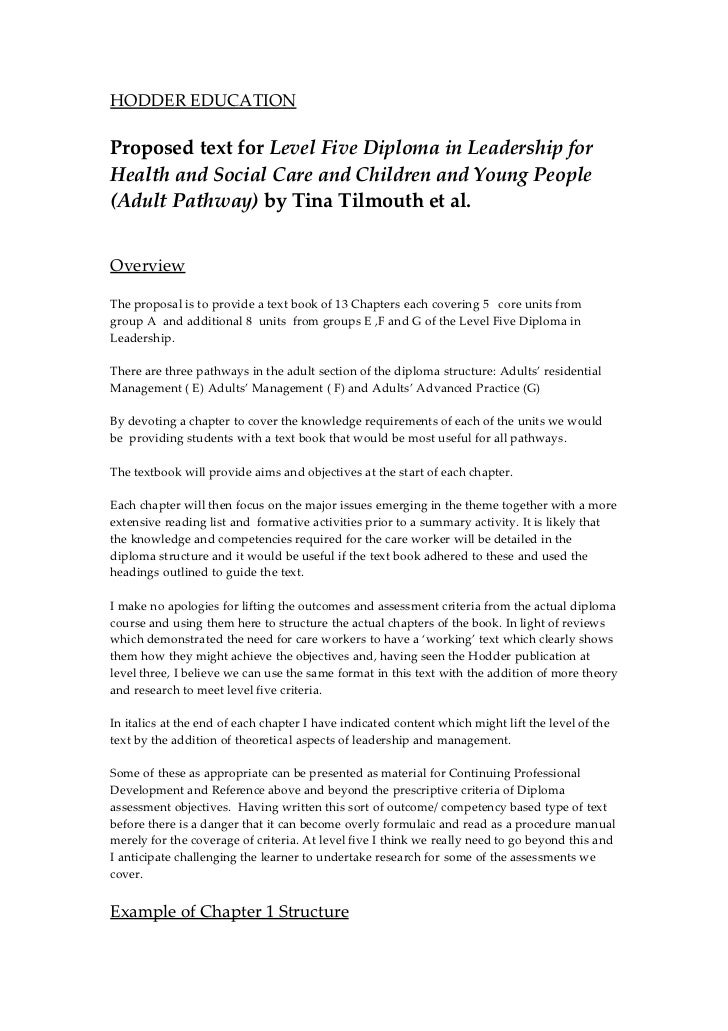 HODDER EDUCATIONProposed text for Level Five Diploma in Leadership forHealth and Social Care and Children and Young People...