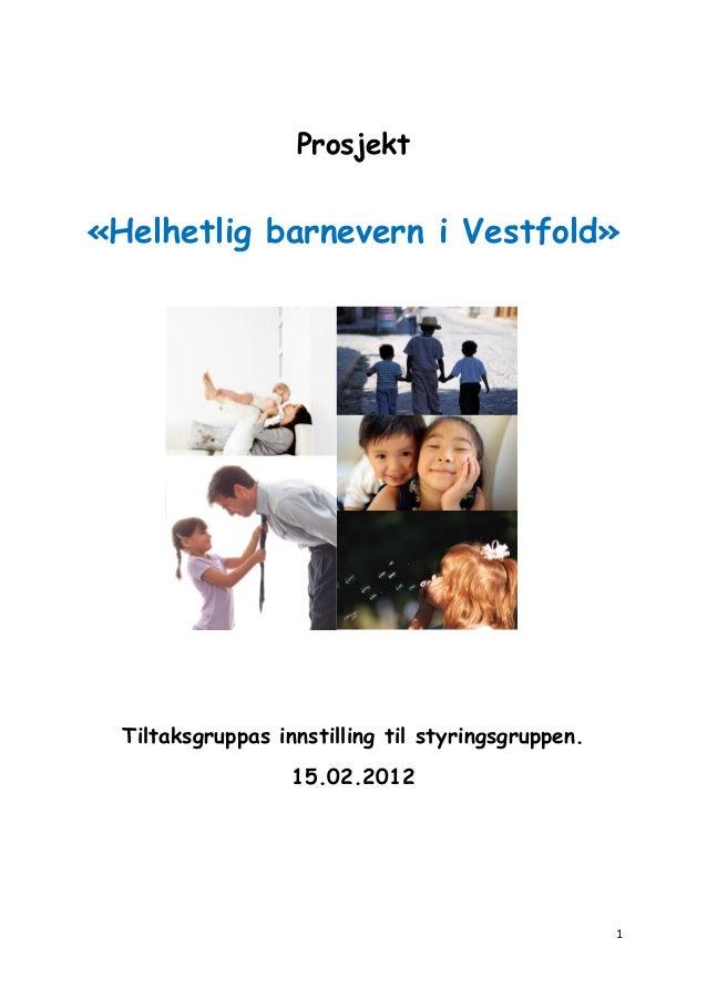 Prosjekt  «Helhetlig barnevern i Vestfold»  Tiltaksgruppas innstilling til styringsgruppen. 15.02.2012  1