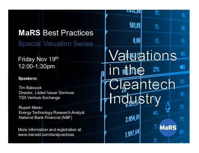 MaRS Best Practices Series Special Valuation Series Nov. 12th, 2010 MaRS Best Practices Special Valuation Series Friday No...