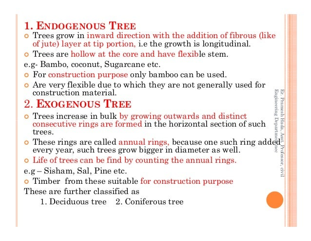 1. ENDOGENOUS TREE Trees grow in inward direction with the addition of fibrous (like of jute) layer at tip portion, i.e th...
