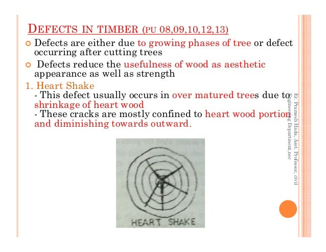 DEFECTS IN TIMBER (PU 08,09,10,12,13) Defects are either due to growing phases of tree or defect occurring after cutting t...