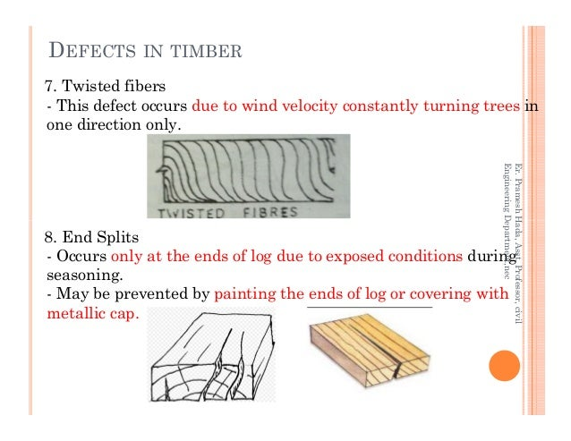 7. Twisted fibers - This defect occurs due to wind velocity constantly turning trees in one direction only. DEFECTS IN TIM...