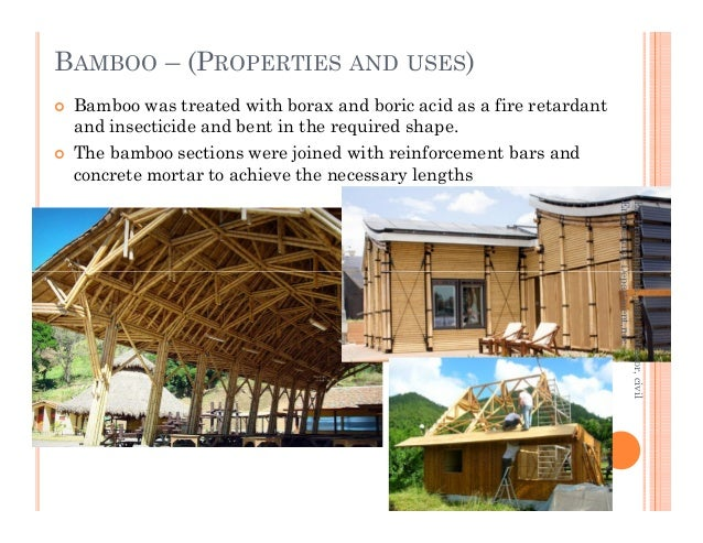 Bamboo was treated with borax and boric acid as a fire retardant and insecticide and bent in the required shape. The bambo...