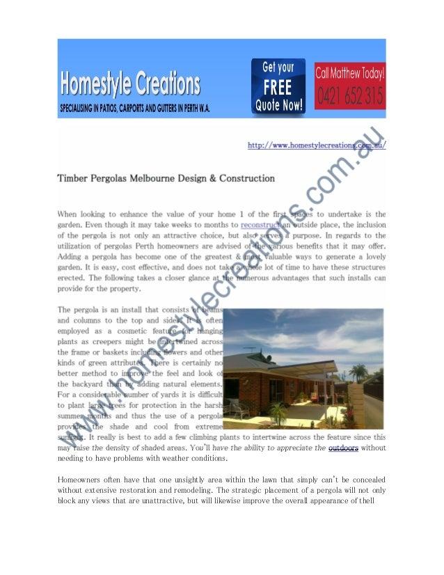 Timber pergolas melbourne design & construction