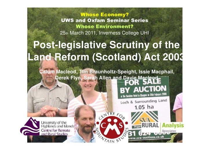 Whose Economy?          UWS and Oxfam Seminar Series                 Whose Environment?          25th March 2011, Invernes...