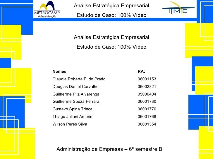 Análise Estratégica Empresarial Estudo de Caso: 100% Vídeo Nomes: RA: Claudia Roberta F. do Prado 06001153 Douglas Daniel ...