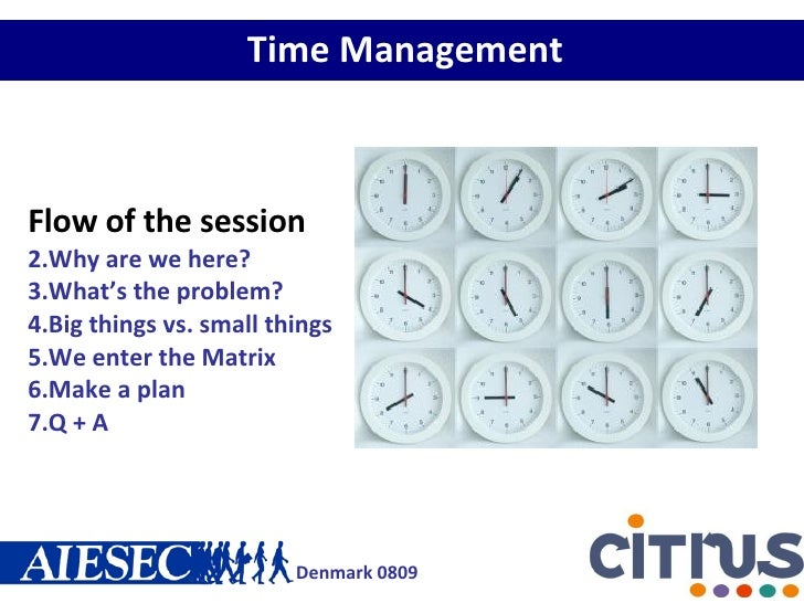 Time Management <ul><li>Flow of the session </li></ul><ul><li>Why are we here? </li></ul><ul><li>What's the problem? </li>...