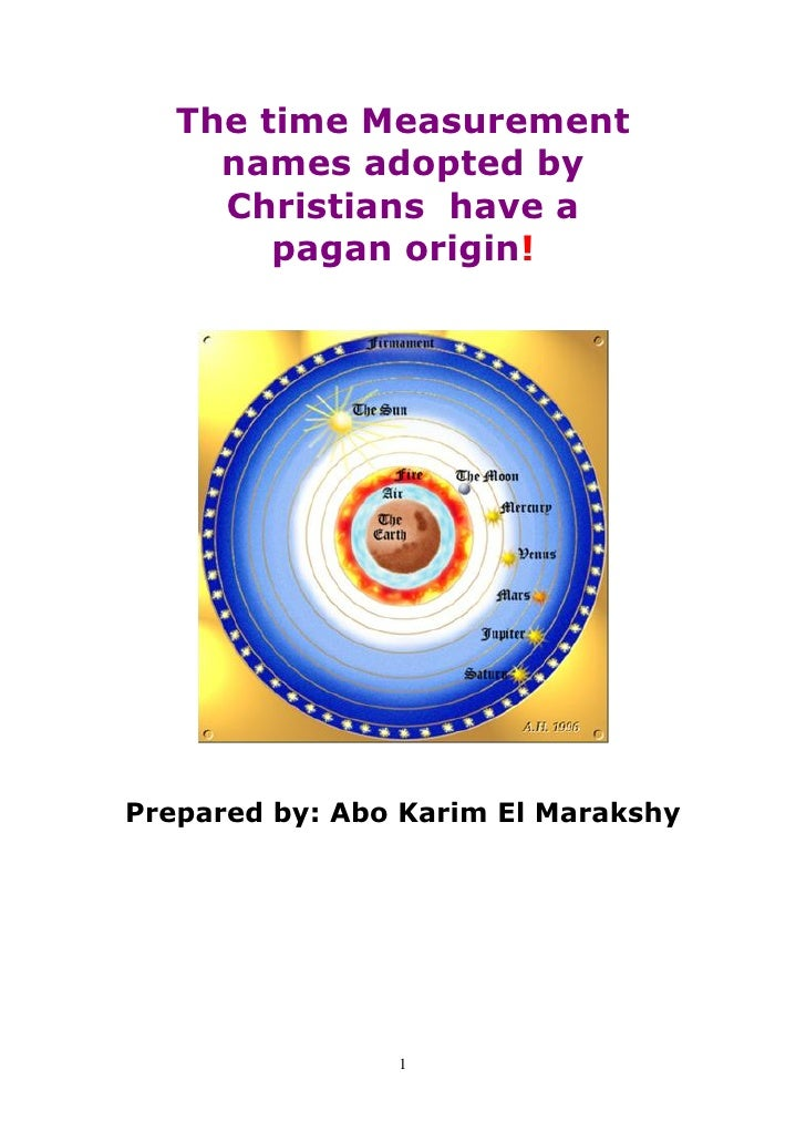 The time Measurement     names adopted by     Christians have a        pagan origin!Prepared by: Abo Karim El Marakshy    ...