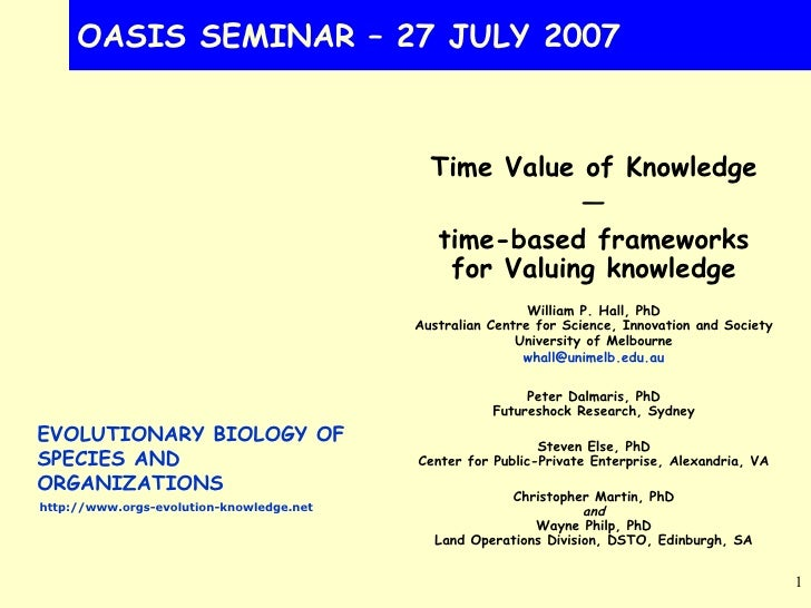 OASIS SEMINAR – 27 JULY 2007 Time Value of Knowledge — time-based frameworks for Valuing knowledge William P. Hall, PhD Au...