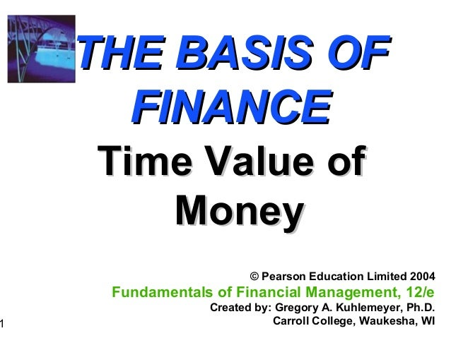 1 THE BASIS OFTHE BASIS OF FINANCEFINANCE Time Value ofTime Value of MoneyMoney © Pearson Education Limited 2004 Fundament...