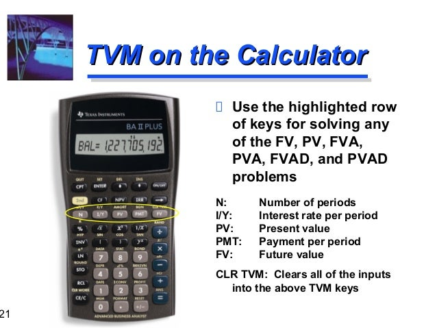 Tvm and financial calculator