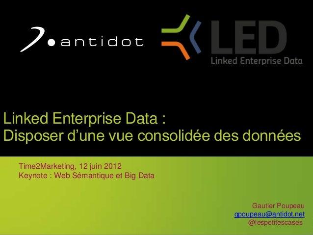 1Linked Enterprise Data :Disposer d'une vue consolidée des donnéesTime2Marketing, 12 juin 2012Keynote : Web Sémantique et ...