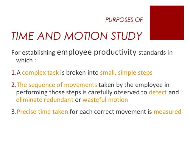 time and motion study in hospitality