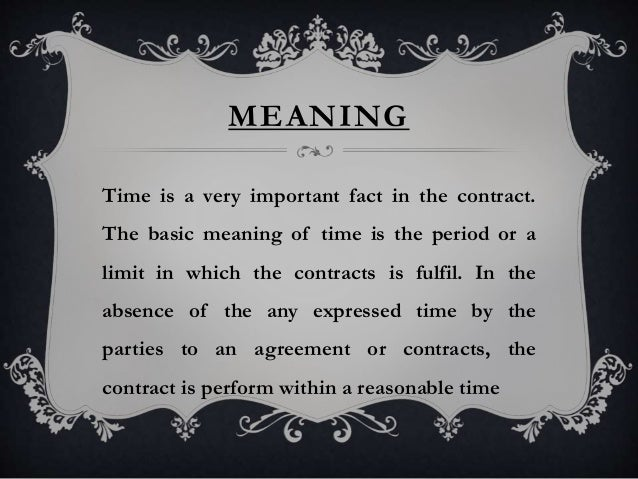 Time As The Essence Of A Contract