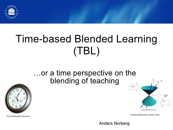 Time-based Blended Learning (TBL) … or a time perspective on the blending of teaching Anders Norberg From Wikimedia Common...
