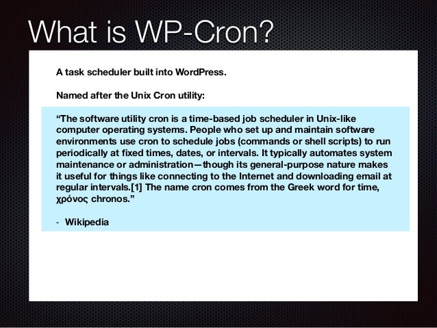Time Code: Automating Tasks in WordPress with WP-Cron Slide 2