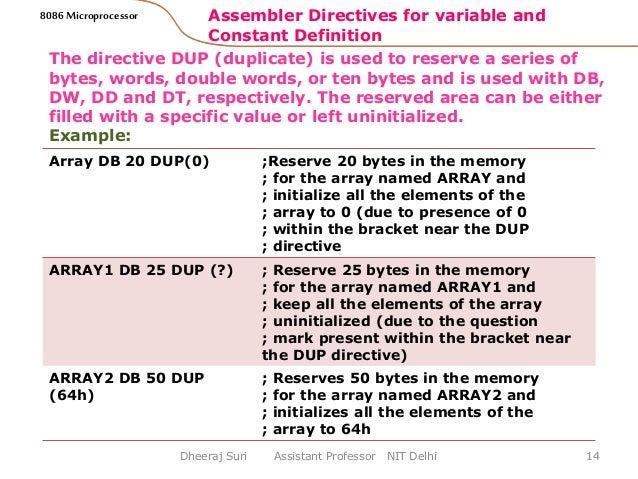 ASSEMBLER DIRECTIVES OF 8085 MICROPROCESSOR PDF