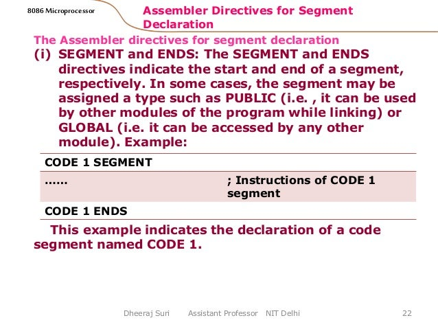 assembler directives of 8086 microprocessor Notes for microprocessor - mp by verified writer classroom notes,  modes 68 8086 microprocessor instruction 92 assembler directives 109 i-o interfacing 127.