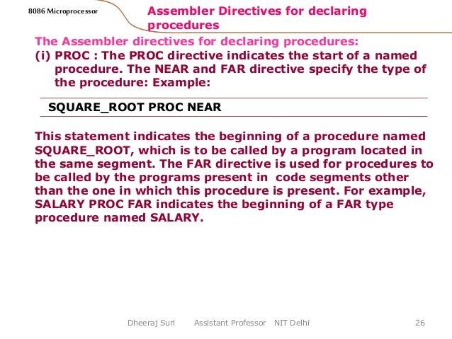 8086 ASSEMBLER DIRECTIVES PDF