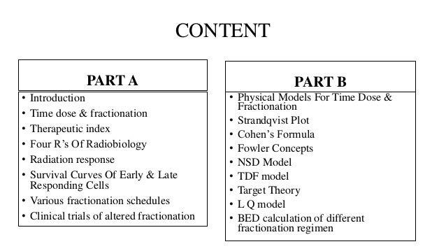 TIME DOSE & FRACTIONATION Slide 2