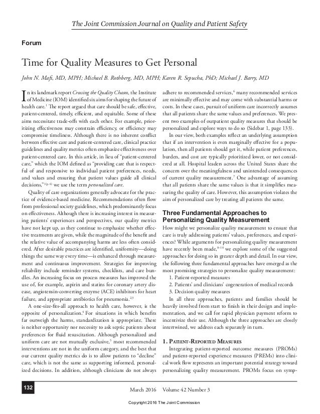 The Joint Commission Journal on Quality and Patient Safety Volume 42 Number 3March 2016132 In its landmark report Crossing...