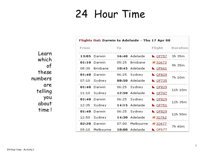 Time introduction to 24 hour time