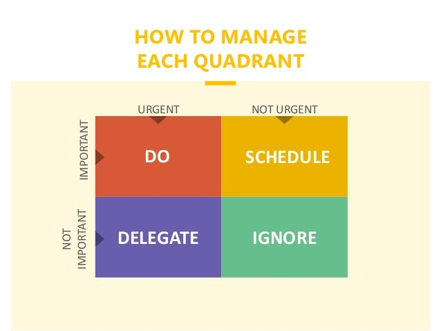 HOW TO MANAGE EACH QUADRANT URGENT NOT URGENT NOT IMPORTANTIMPORTANT DO SCHEDULE DELEGATE IGNORE
