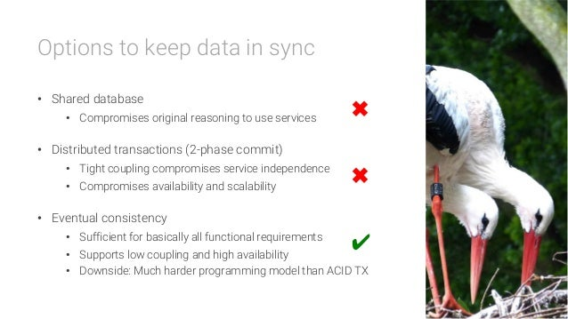 Options to keep data in sync  • Shared database • Compromises original reasoning to use services • Distributed transact...