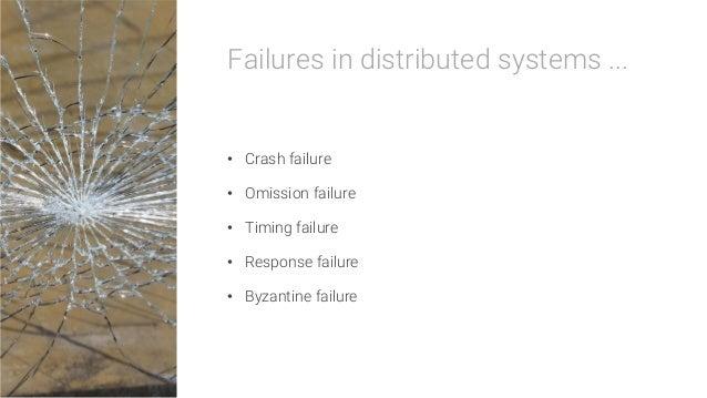 Failures in distributed systems ...  • Crash failure • Omission failure • Timing failure • Response failure • Byzanti...