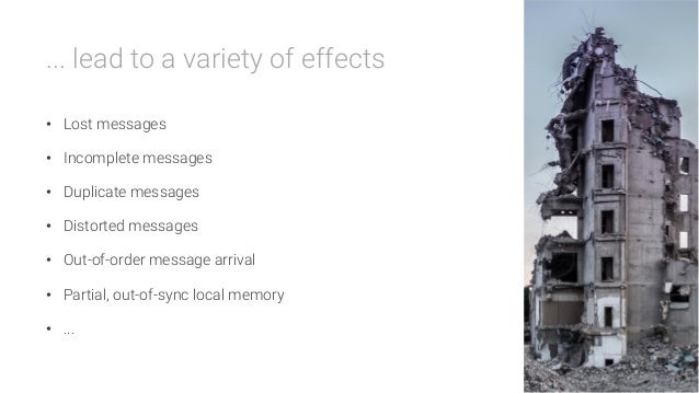 ... lead to a variety of effects  • Lost messages • Incomplete messages • Duplicate messages • Distorted messages • O...
