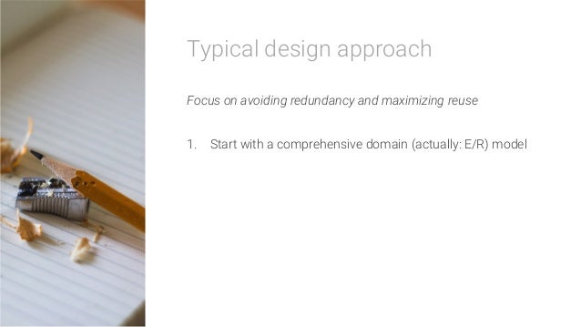 Typical design approach  Focus on avoiding redundancy and maximizing reuse  1. Start with a comprehensive domain (actuall...