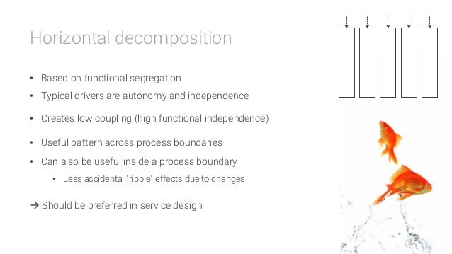 Horizontal decomposition  • Based on functional segregation • Typical drivers are autonomy and independence • Creates l...