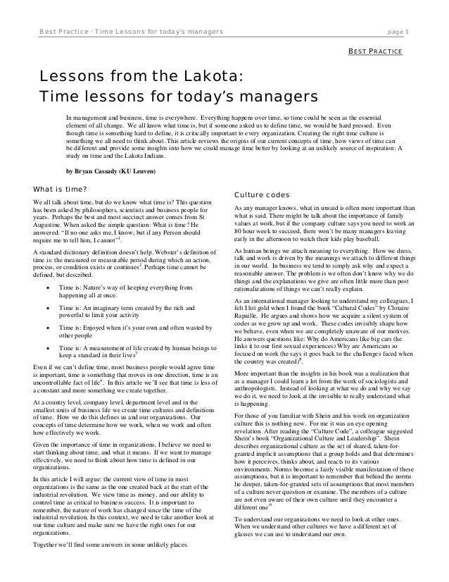 Best Practice · Time Lessons for today's managers  page 1  BEST PRACTICE  Lessons from the Lakota: Time lessons for today'...