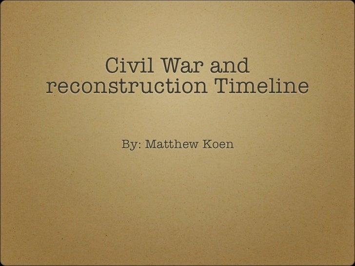 Civil War andreconstruction Timeline      By: Matthew Koen