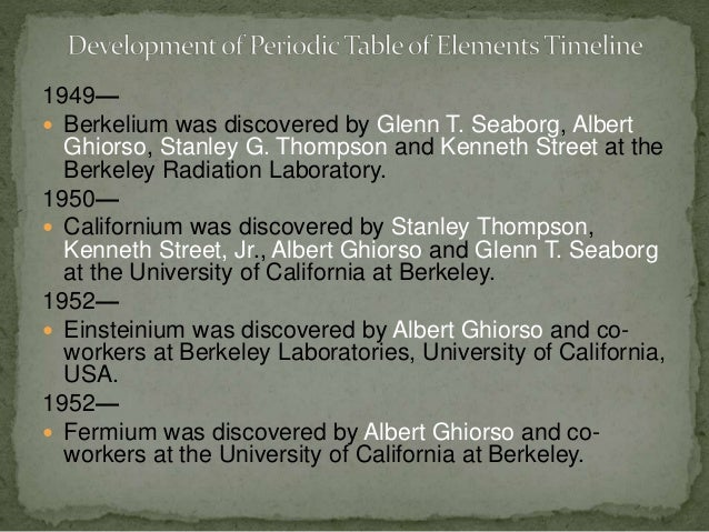 a history of the discovery of the individual elements and the creation of the periodic table Dr john andraos,   1 names of scientists associated with discoveries of elements of periodic table.