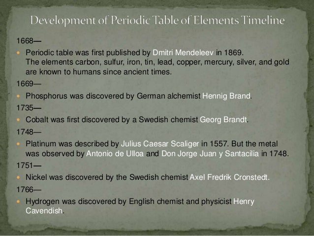 3 - Periodic Table Of Elements Discovery