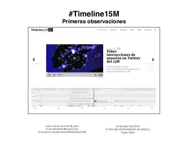 #Timeline15M! 25 de abril de 2014 II Jornada de Periodismo de datos y Open Data Juan Linares Lanzman @_juanli Arnau Monter...