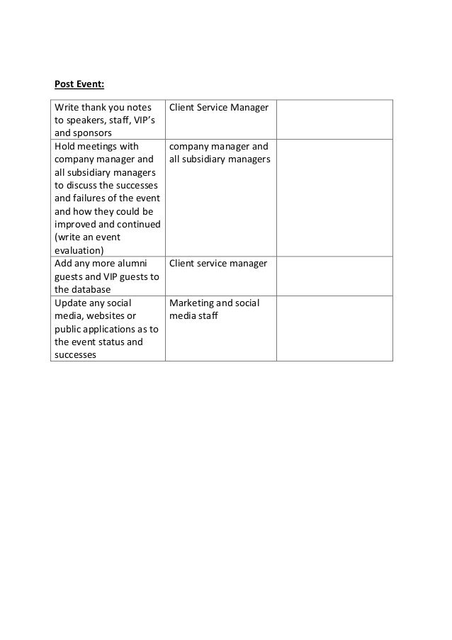Timeline and checklist for event planning