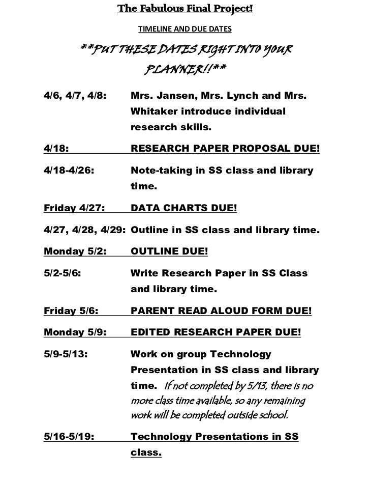 The Fabulous Final Project!<br />TIMELINE AND DUE DATES<br />**PUT THESE DATES RIGHT INTO YOUR PLANNER!!**<br />4/6, 4/7, ...