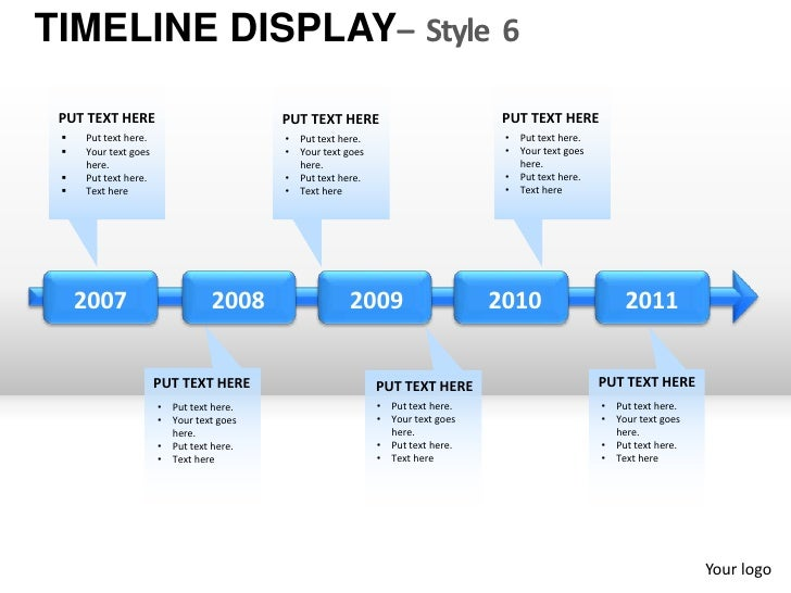 5 year goal plan template - roadmap timeline display style 6 powerpoint presentation