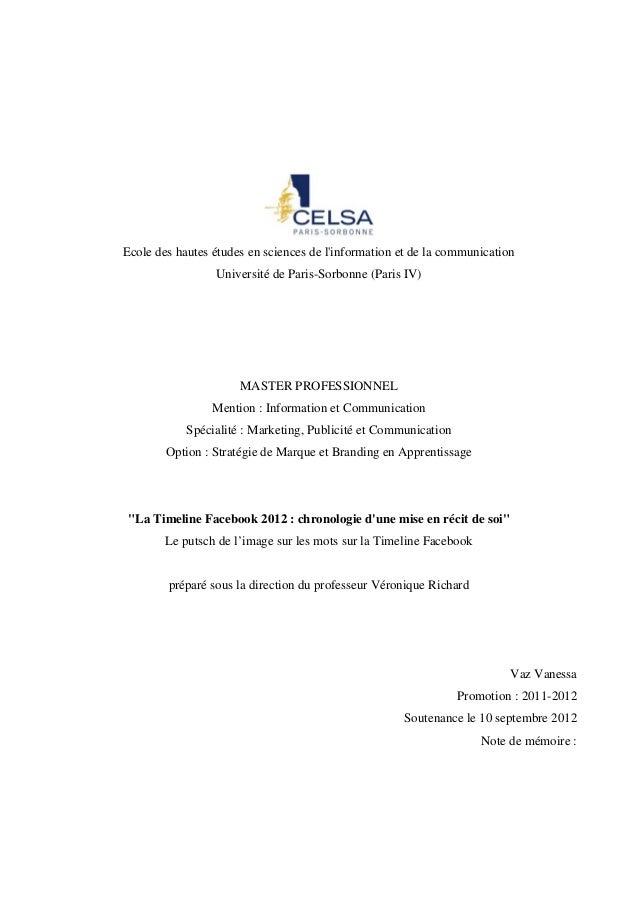 Ecole des hautes études en sciences de linformation et de la communication                 Université de Paris-Sorbonne (P...
