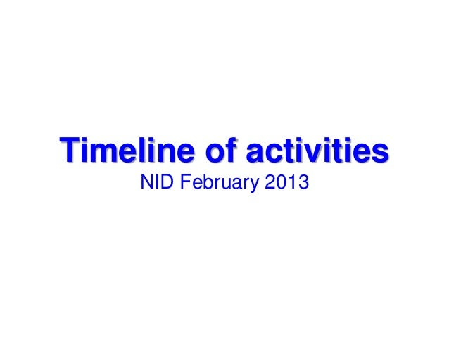 Timeline of activities     NID February 2013
