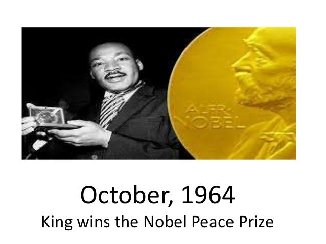 Martin luther king jr getting the nobel peace prize