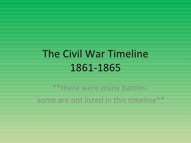 The Civil War Timeline 1861-1865 **there were many battles;  some are not listed in this timeline**