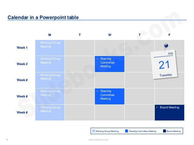 Timelines & calendars in Powerpoint