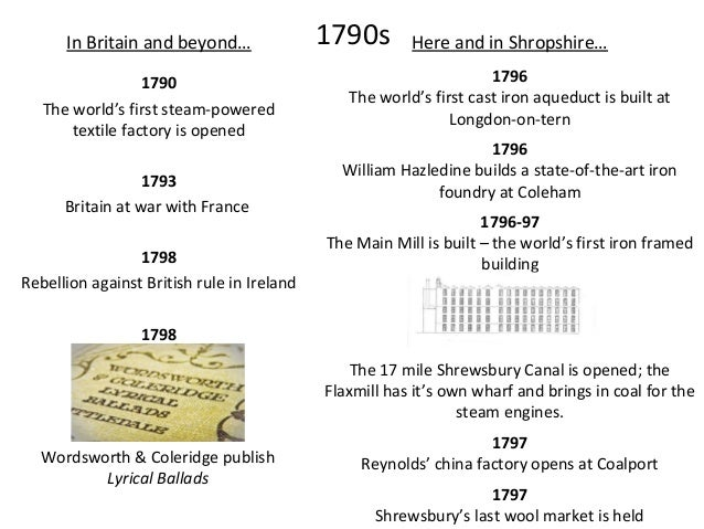 Here and in Shropshire… 1803 The original Cross Mill is built 1804 The Marshall, Benyon & Bage partnership breaks up; Mars...