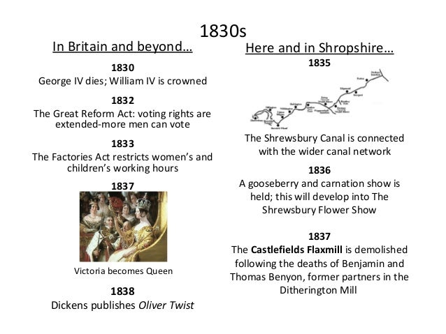 1840s In Britain and beyond… 1845 1846 Repeal of the Corn Laws: grain imports are no longer taxed Here and in Shropshire… ...