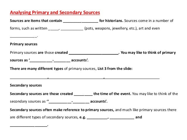 Timelines Source Types – Primary Secondary Sources Worksheet
