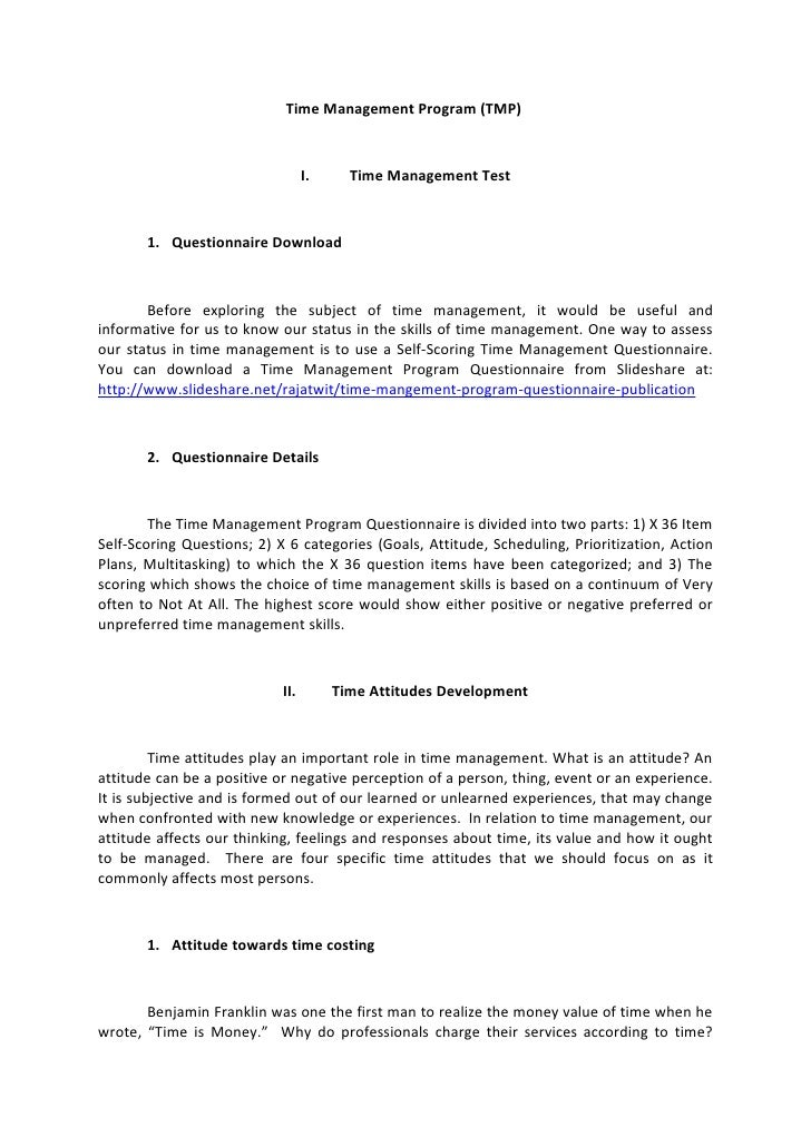 Time Management Program (TMP)                                  I.     Time Management Test       1. Questionnaire Download...